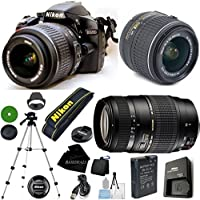 D3200 24.2 MP CMOS Digital SLR, NIKKOR 18-55mm f/3.5-5.6 Auto Focus-S DX VR, Tamron 70-300mm DI LD Zoom, Tripod, 6pc Cleaning Set