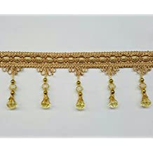 One Yard Of Beaded Curtain Fringe Tassel With Gold Cord in Antique Gold