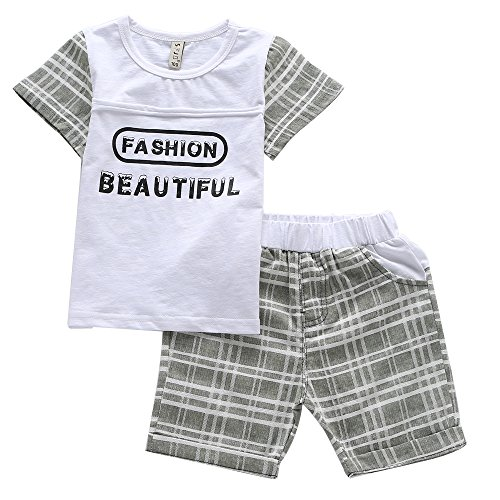 Cuteadoy Boy's 2 Cinch Outfit Set Sleeve Shirt and Shorts for 1 to 5 Years Olds Little Boy (90(1Years), White)