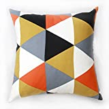 TAOSON Large Triangle Geometric Pattern Cotton Canvas Pillow Sofa Throw Cushion Cover Pillow Case with Hidden Zipper Closure Only Cover No Insert 25x25 Inch 65x65cm -Argyle Orange