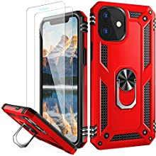 """LUMARKE for iPhone 12 Case,iPhone 12 Pro Case with Screen Protector(2 Pack),Pass 16ft. Drop Test Military Grade Cover with Kickstand,Protective Phone Case for iPhone 12 Pro/iPhone 12 6.1"""" Red Color"""