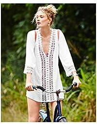 Lace Crochet V Neck Soft Cotton Beach Swimsuit Coverup Mini Dress Top w/ Sleeves