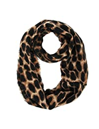 Women's Leopard Print Infinity Scarf - Warm Cheetah Loop Circle Scarves