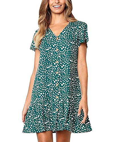 Chuanqi Womens Polka Dot V Neck Button Down Ruffles Casual Loose Swing Short Mini T-Shirt Dress(X-Large, Z-navy)