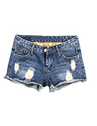 Yollmart Women's Low Rise Ripped Denim Distressed Shorts Jeans