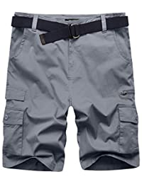 Wantdo Men's Casual Cotton Twill Cargo Shorts Basic Mens Shorts with Belt