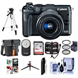 Canon EOS M6 Mirrorless Digital Camera Black with EF-M 15-45mm f/3.5-6.3 IS STM Lens - Bundle With Holster Case, 32GB SDHC Card, Tripod, Remote Controller, 49mm Filter Kit, Software Package And More