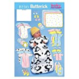 Butterick Patterns B5583 Infants' Bunting, Jumpsuit, Shirt, Diaper Cover, Blanket, Hat, Bib, Mittens and Booties, Size LRG (L-XL)
