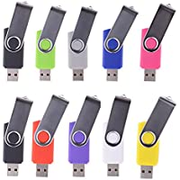 LHN® (Bulk 10 Pack) 8GB Swivel USB Flash Drive USB 2.0 Memory Stick (9 Colors)