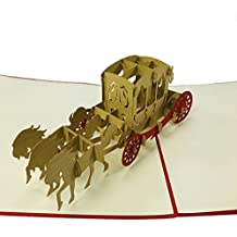 Horse Carriage - WOW 3D Pop Up Greeting Card for All Occasions - Love, Birthday, Anniversary, Wedding, Birthday, Loved Ones