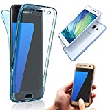 For Samsung Galaxy J3 (2015) Case,Vandot Premium Ultra Slim Soft TPU Crystal Clear 360 Degree Full Body Front & Back Protective Case Shockproof Scratch-resistant Cover-Transparent Blue