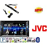 JVC KW-V130BT Double DIN Bluetooth In-Dash DVD/CD/AM/FM Car Stereo w/ 6.2 Clear Resistive Touchscreen + CAM-600 License Plate Bolt-On Rear View Camera w/ Built-In I.R. Camera