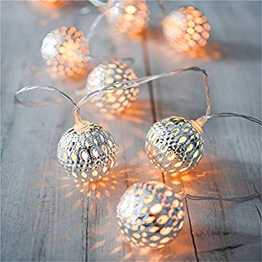 LED Globe String Lights,Goodia Battery Operated 10.49Ft 30er Silver Moroccan Lamp for Indoor,Bedroom,Curtain,Patio,Lawn,Landscape,Fairy Garden,Home,Wedding,Holiday,Christmas Tree,Party (Warm White)