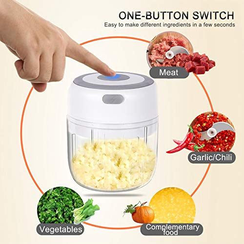 Electric Mini Garlic Chopper.Portable Chopper.Blender Food Process for Meat,Fruit,Nuts.Ubs,IP68 Waterproof,Flush Directly,Food Grade Material,Double cup,Double blade.