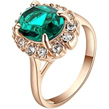 Yoursfs Sunflower Ring Red/Sapphire Sparkly Halo 18K Rose Gold Plated Rings For Women Mother's Day