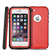 """TNP iPhone SE/5s/5 Waterproof Case (Red) - Underwater Dustproof Snowproof Shockproof Dirtproof Extreme Durable Full Body Protective Case Cover Skin for Apple iPhone 6s and iPhone 6 4.7"""" Devices"""