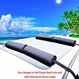 "Alfa Gear No Color Fading Fabric Areo Car Roof Rack Pads When Hauling Kayak/Canoe/Surf Board/SUP/Snow Board Ski Board/Knee Board Size 17"" X13.4X0.8 4 pcs/Set with Hood Loop and Trunk Loop"