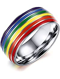 8mm Stainless Steel Enamel Rainbow LGBT Pride Ring for Lesbian & Gay Wedding Engagement Band