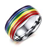 Nanafast 8mm Stainless Steel Enamel Rainbow LGBT