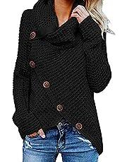 kenoce Damen Lässig Pullover Tops Langarm Rollkragen Stilvoll Oberteile Sweatshirts T-Shirt Asymmetrischer Gestrickt Dehnbar Bluse 1-Schwarz EU44 /Etikettgröße XL