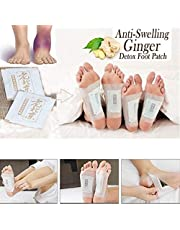 Crewell 50 Pcs Anti-Inflammation Sweilling Ginger Foot Patch Organic Herbal Kinoki Detox Pads