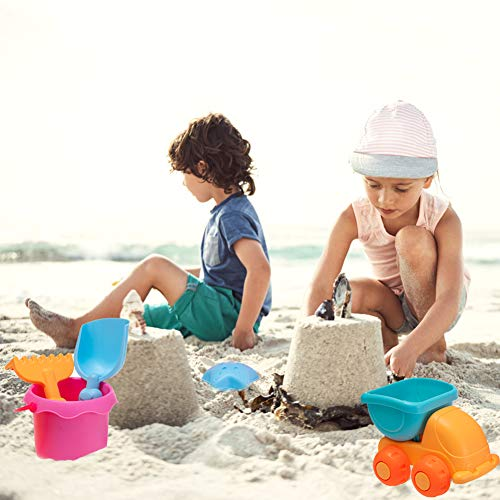 9 PCS Beach Toys Sand Water Wheel Moulds Truck Bucket Beach Shovels Rakes Tool Kit for Toddlers Kids Outdoor Play