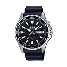 Casio Men's 'Super Illuminator' Quartz Stainless Steel and Resin Casual Watch, Color: Black (Model: MTD110-1AV)