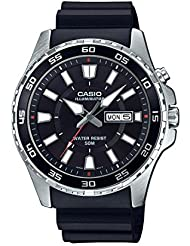 Casio Mens Super Illuminator Quartz Stainless Steel and Resin Casual Watch, Color:Black (Model: MTD-110-1AVCF)
