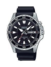 Casio Men's 'Super Illuminator' Quartz Stainless Steel and Resin Casual Watch, Color: Black (Model: MTD110-1AV)