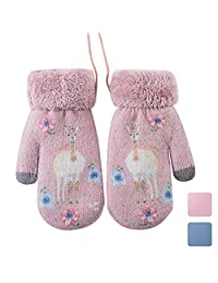 Lady Mittens, Winter Women Gloves Caseeto [Christmas tree Style] Lady Girl Plush Lined Cuffed Winter Mittens Xmas Gift(Pink)