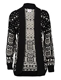 Forever Women's Long Sleeve Owl Print Knit Cardigan