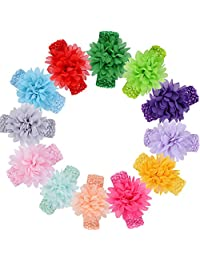 Ffpazig 10pcs assorted color baby girls chiffon flower lace headbands hair accessories range for Babies newborn babies, infant activities and entertainment
