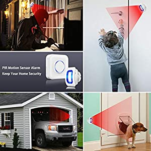 Motion Sensor Alarm BITIWEND Wireless Motion Detector 500ft Range with 52 Chime Tunes 4 Sound Level LED Indicator 1 PIR Sensor and 1 Plug-in Receiver for Store Door Entry Alert Home Driveway Alarm