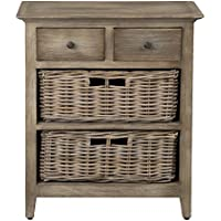 East at Main Stratton Brown Rattan Storage Nightstand, (25.5x11.8x29.5)