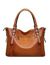 S-ZONE Women's Vintage Large Genuine Leather Tote Shoulder Handbags Ladies Top-handle Purse Cross Body Bag
