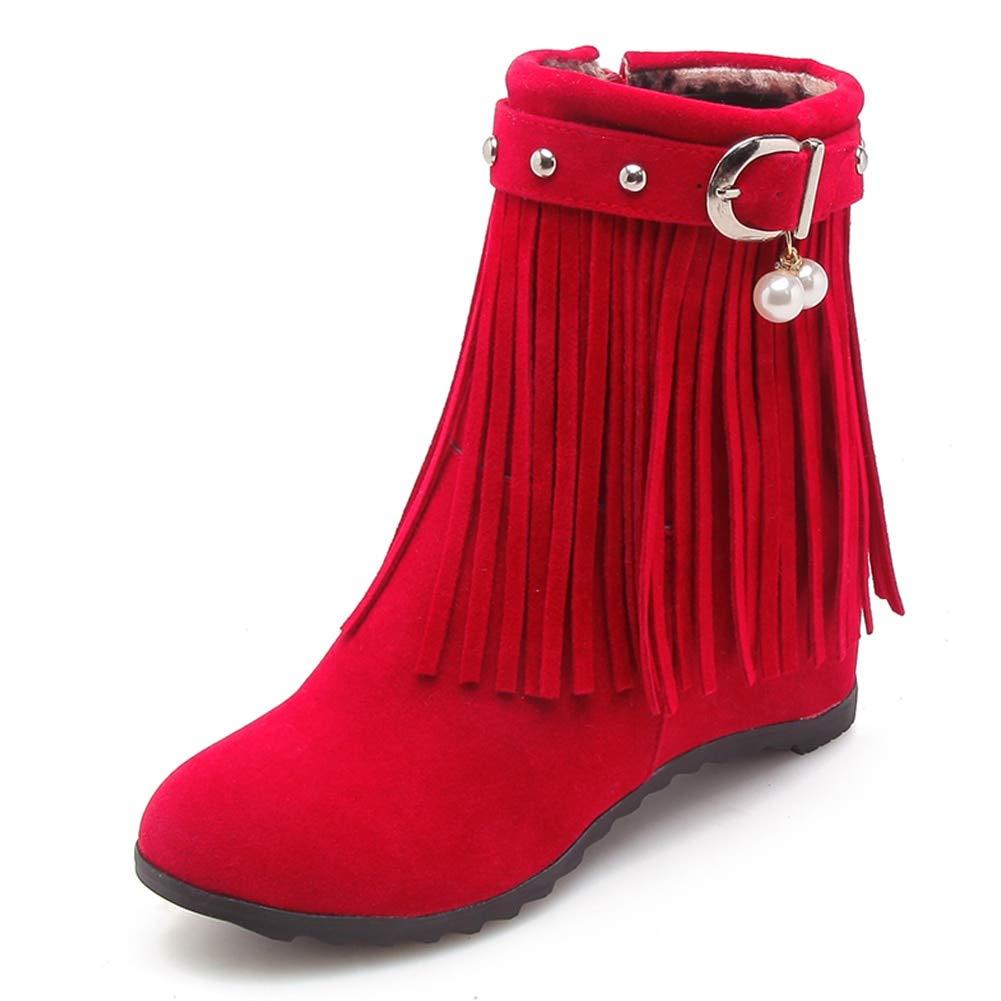 rouge rouge HOESCZS Plus La Taille 33-43 Franges Zip Up Femmes Bottes d'hiver Chaussures Femme Talons Compensés Ajouter Fourrure Bottines Chaussures Femme  bienvenue à choisir