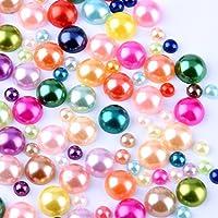 800 pcs DIY Art Mixed color Half Round Pearl Bead Flat...