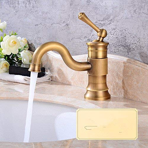 DOJOF Basin Sink Mixer Tap for Lavatory Antique Brass Hot and Cold Water Bathroom Vanity Sink Faucet