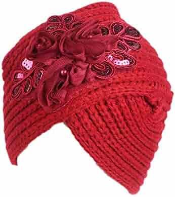 URIBAKE Women s Retro Winter Wool Knitting Hat Turban Ladies  Brim Hat Cap  Pile Cap e4fb733a726d