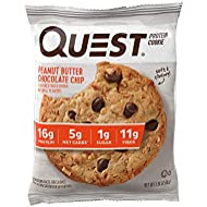 Quest Nutrition Peanut Butter Chocolate Chip Protein Cookie, High Protein, Low Carb, Gluten Free, 12 Count Per Box