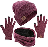 mysuntown Winter Beanie Hats Scarf Touch Screen Gloves 3 Pieces Hat Scarf Gloves Set Thick Knit Skull Cap for Men Women