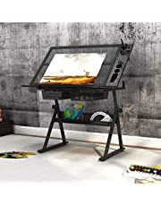 SogesHome Adjustable Drafting Table Drawing Table Art & Craft Drawing Desk Folding Glass Painting Workstation, with Drawers, Shelf and Side Tray, Black, NSDCA-CZKLD-027