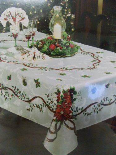 Waterford Golden Scrolls Poinsettia Holiday Tablecloth 70