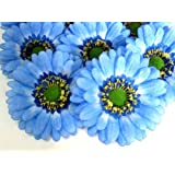 "(12) BIG Silk Blue Gerbera Daisy Flower Heads , Gerber Daisies - 3.5"""" - Artificial Flowers Heads Fabric Floral Supplies Wholesale Lot for Wedding Flowers Accessories Make Bridal Hair Clips Headbands Dress"