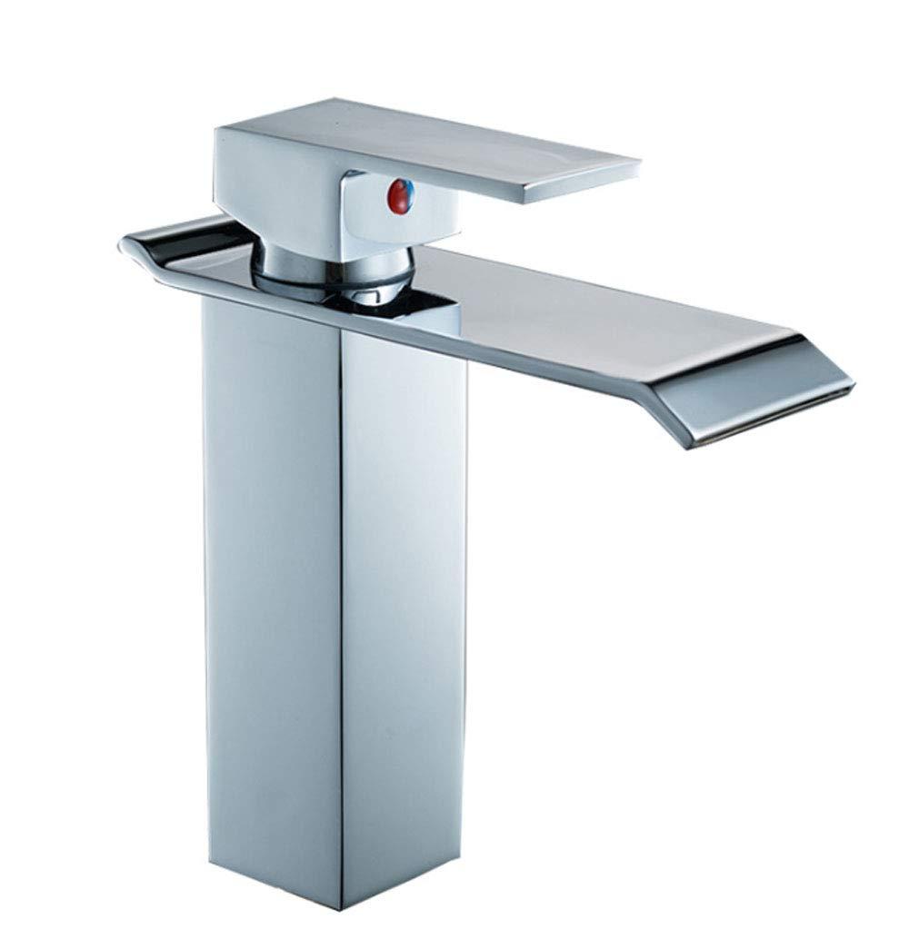 HYXSLT Wasserhahn Bad einzigen Loch Waschbecken Wasserhahn Bad Kupfer verGoldet Waschbecken Heißes und kaltes Wasser Wasserhahn