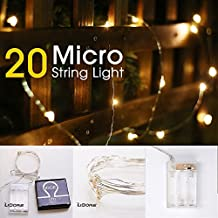 LIDORE Micro LED 20 Super Bright Warm White String Lights with timer. Battery Operated on 7.87 Ft Long silver ultra thin copper wire.