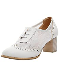 Jamron Women Summer Breathable PU&Lace Upper Oxfords Shoes Elegant Block Heel Brogue Dress Shoes