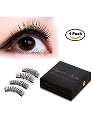 Magnetic Eyelashes [No Glue] Black False Eyelashes Set for Natural Look - Ce 3D Full Eye Fake Lashes Extensions - Reusable Long and Soft (1 Pair/2 Pcs)