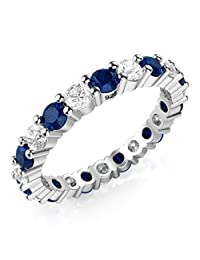 3.50MM Sterling Silver 925 White & Blue CZ Eternity Engagement Wedding Band Ring