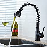 Fapully Kitchen Sink Faucet Black with Pull Out Single Handle Spring Sprayer